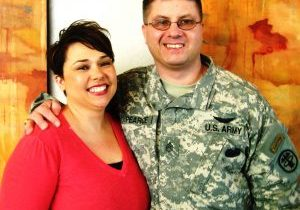 male veteran and female smiling